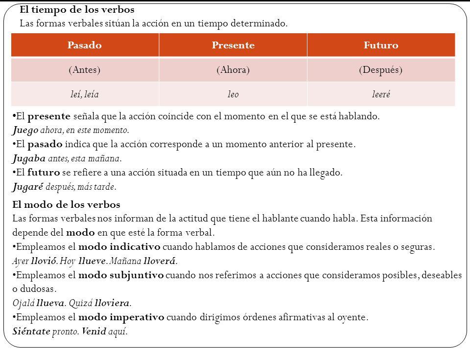 El tiempo de los verbos Las formas verbales sitúan la acción en un tiempo determinado. Pasado. Presente.