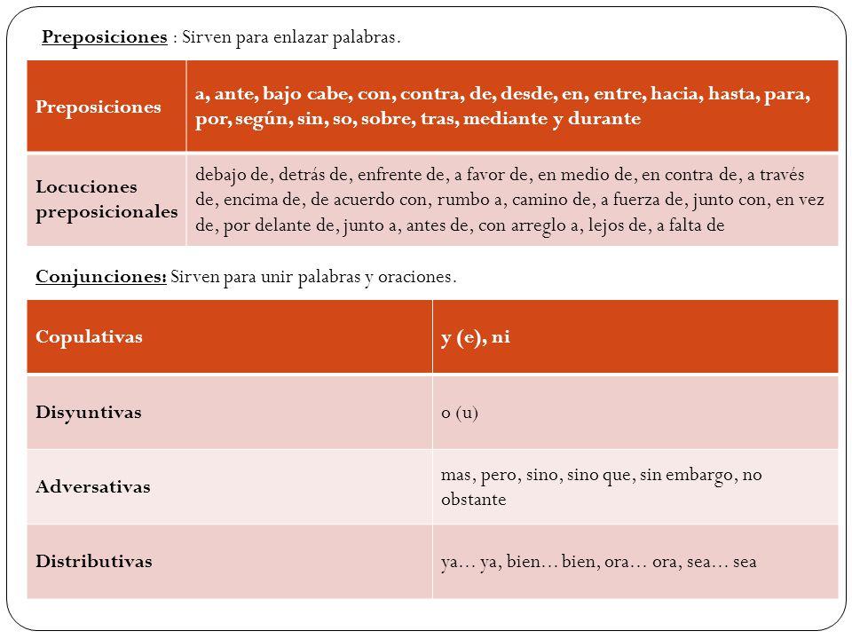 Preposiciones : Sirven para enlazar palabras.