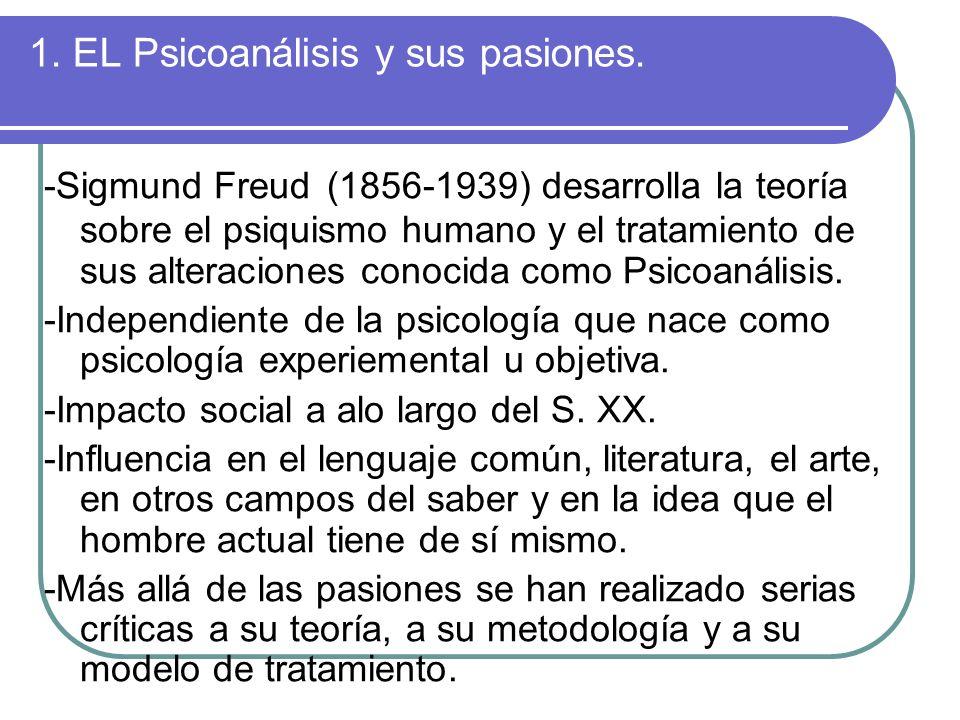 1. EL Psicoanálisis y sus pasiones.