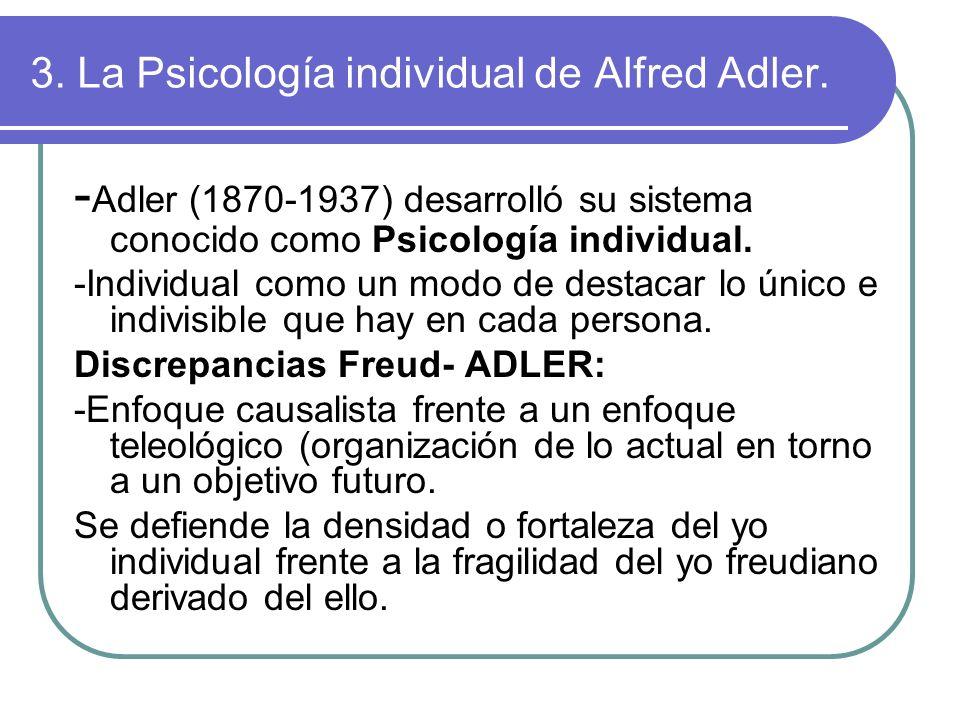 3. La Psicología individual de Alfred Adler.