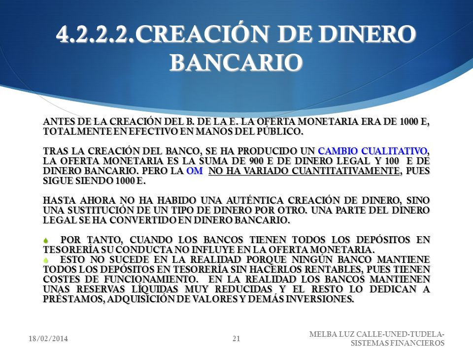 4.2.2.2.CREACIÓN DE DINERO BANCARIO