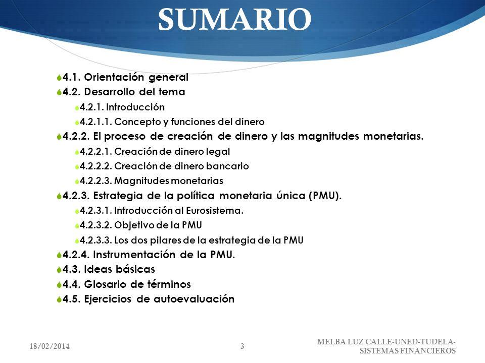 SUMARIO 4.1. Orientación general 4.2. Desarrollo del tema