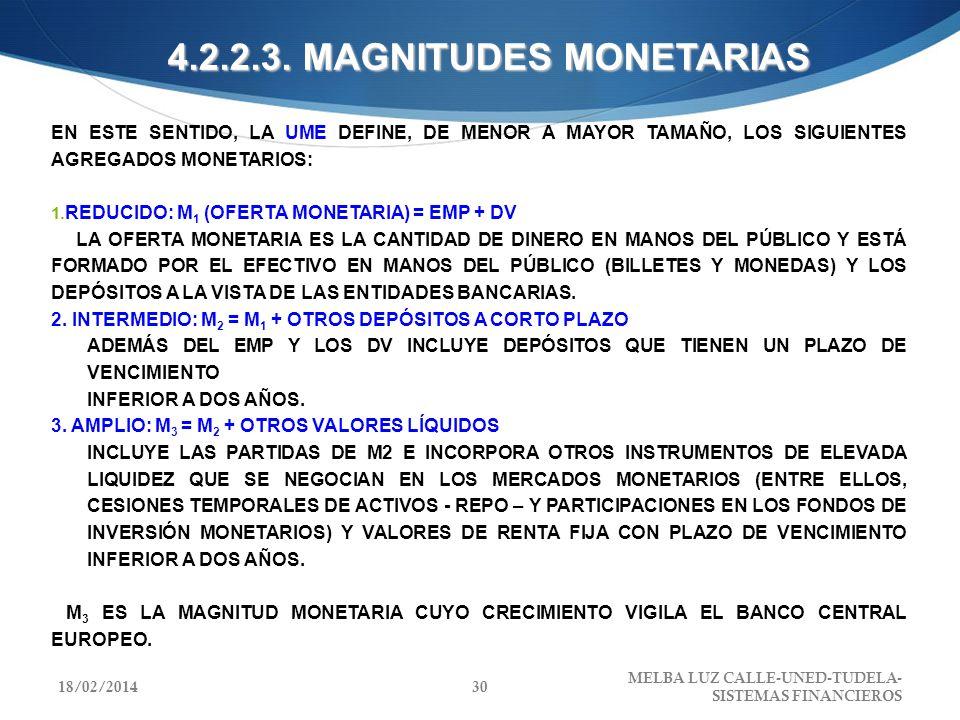 4.2.2.3. MAGNITUDES MONETARIAS