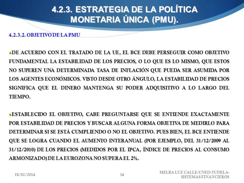 4.2.3. ESTRATEGIA DE LA POLÍTICA MONETARIA ÚNICA (PMU).