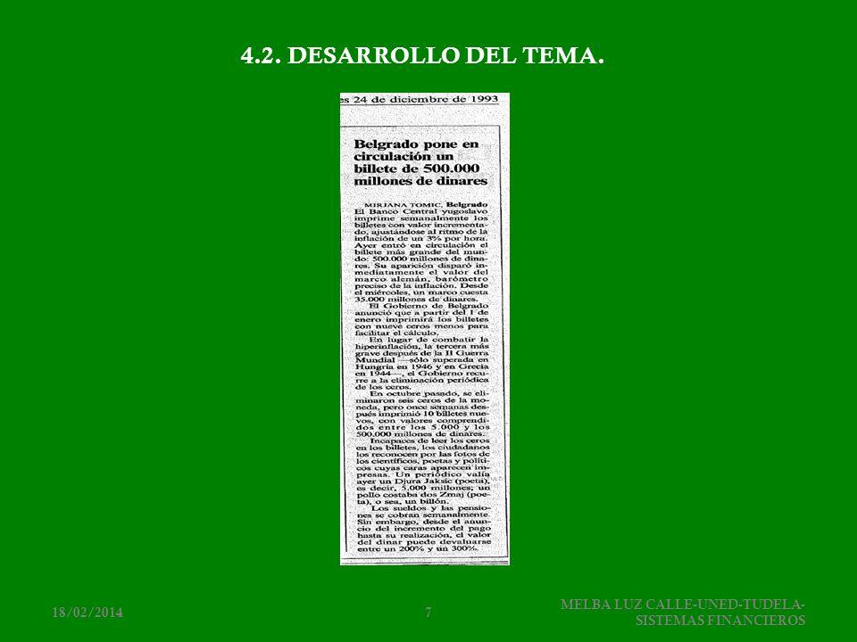 4.2. DESARROLLO DEL TEMA. 25/03/2017 MELBA LUZ CALLE-UNED-TUDELA-SISTEMAS FINANCIEROS