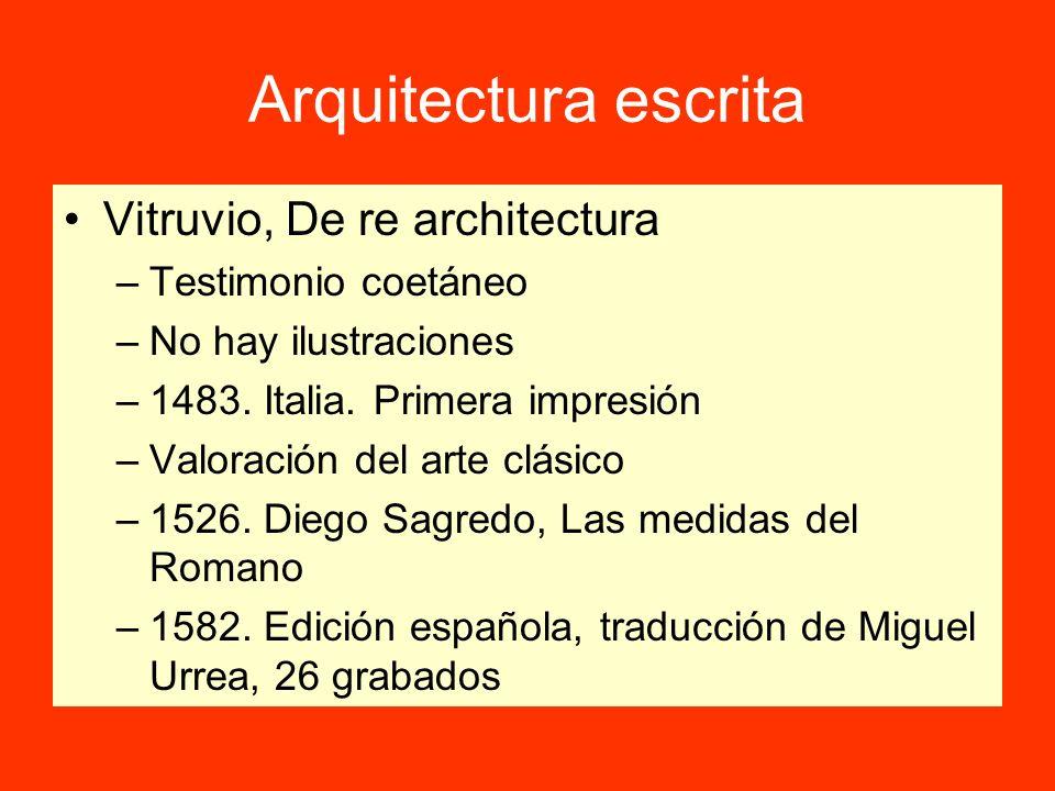 Arquitectura escrita Vitruvio, De re architectura Testimonio coetáneo