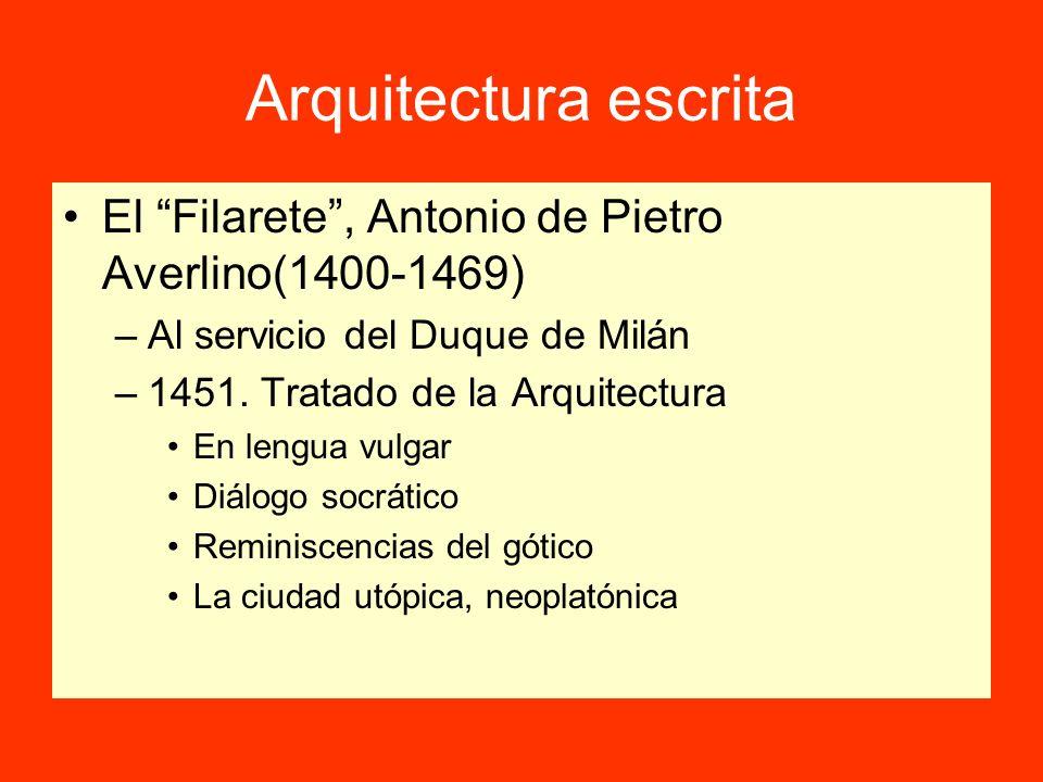 Arquitectura escritaEl Filarete , Antonio de Pietro Averlino(1400-1469) Al servicio del Duque de Milán.