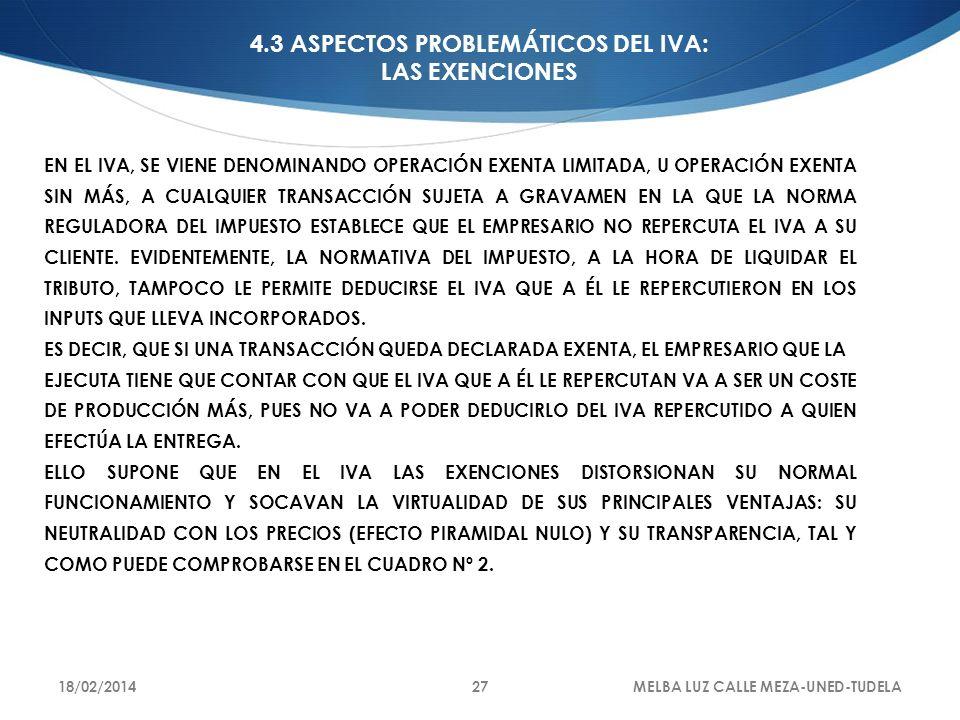 4.3 ASPECTOS PROBLEMÁTICOS DEL IVA: