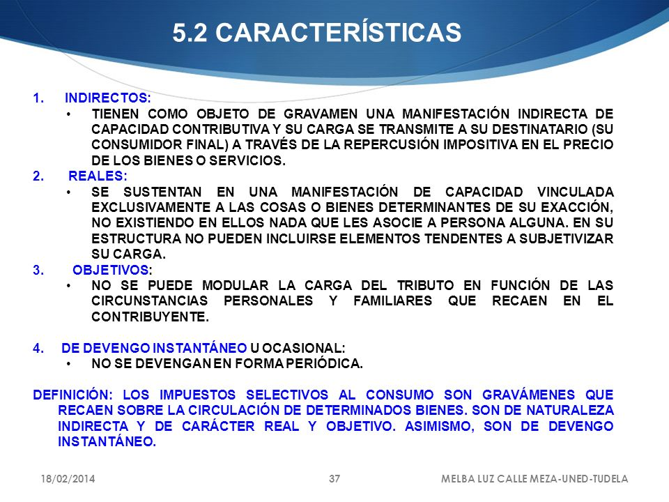 5.2 CARACTERÍSTICAS INDIRECTOS:
