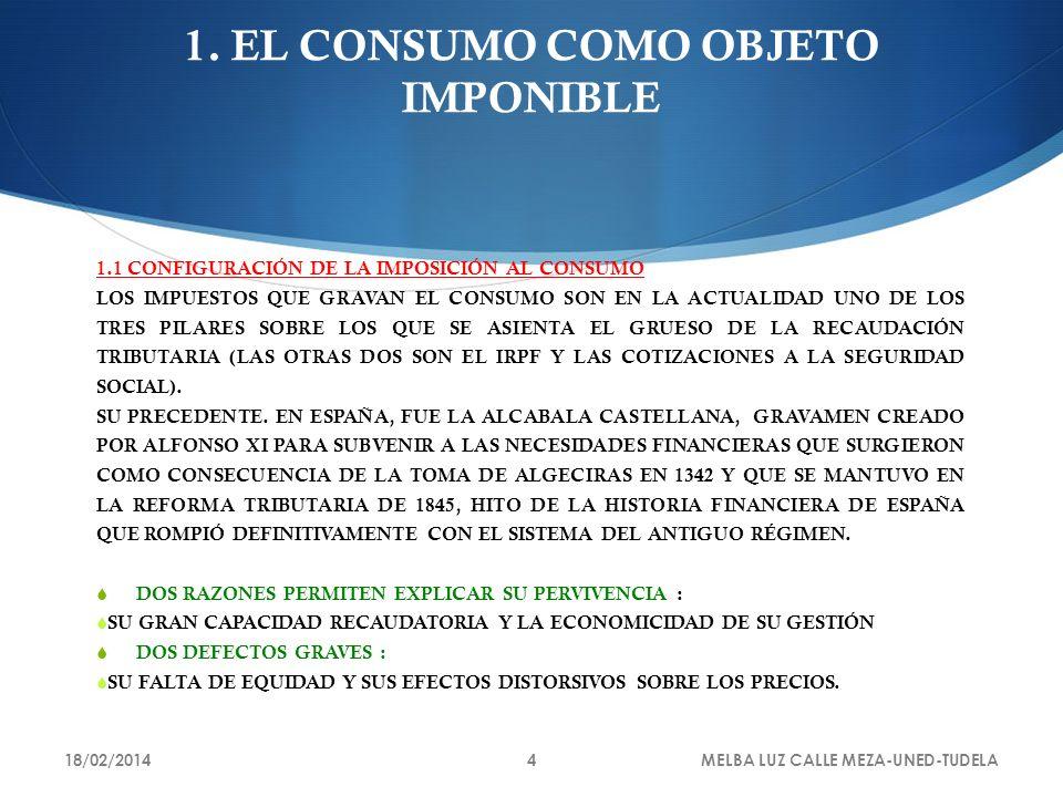 1. EL CONSUMO COMO OBJETO IMPONIBLE