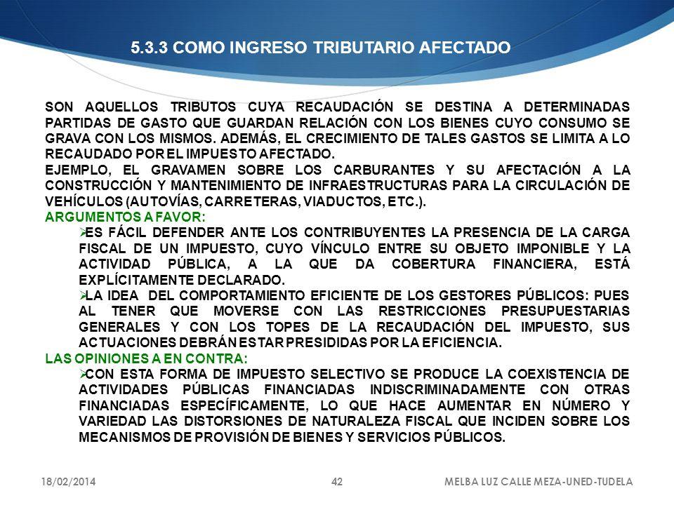 5.3.3 COMO INGRESO TRIBUTARIO AFECTADO