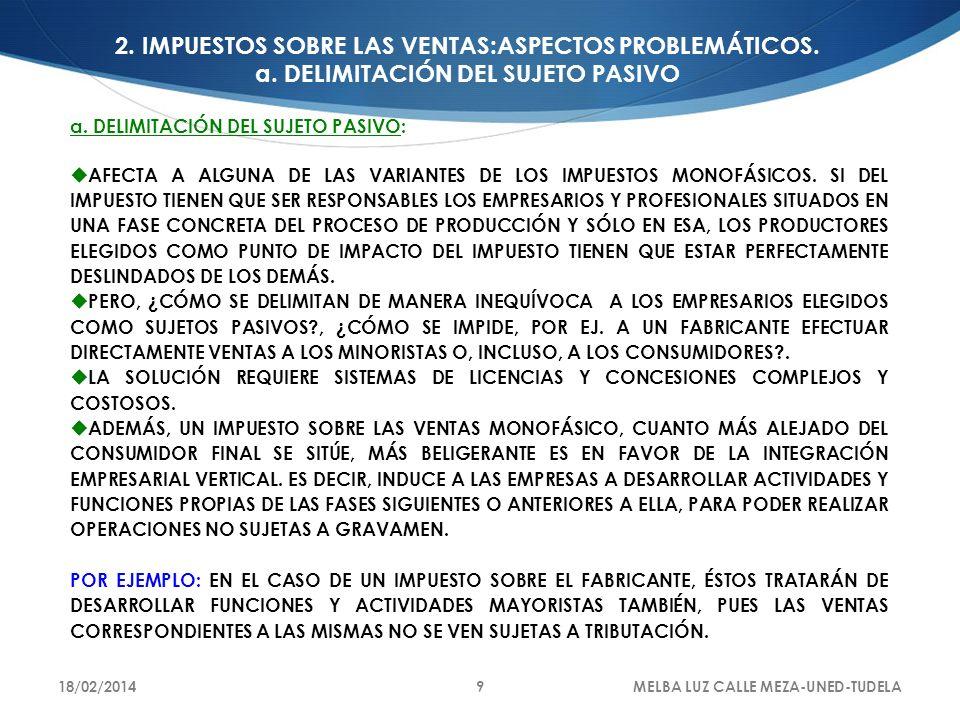 2. IMPUESTOS SOBRE LAS VENTAS:ASPECTOS PROBLEMÁTICOS. a