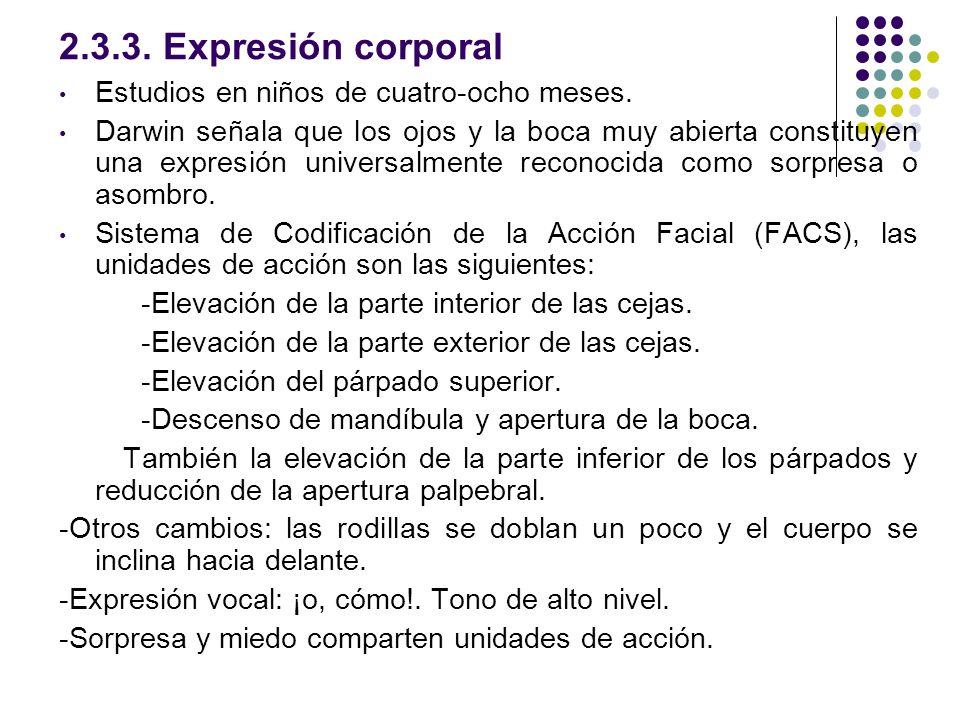 2.3.3. Expresión corporal Estudios en niños de cuatro-ocho meses.