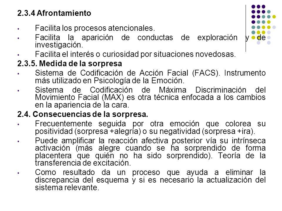 2.3.4 Afrontamiento Facilita los procesos atencionales. Facilita la aparición de conductas de exploración y de investigación.