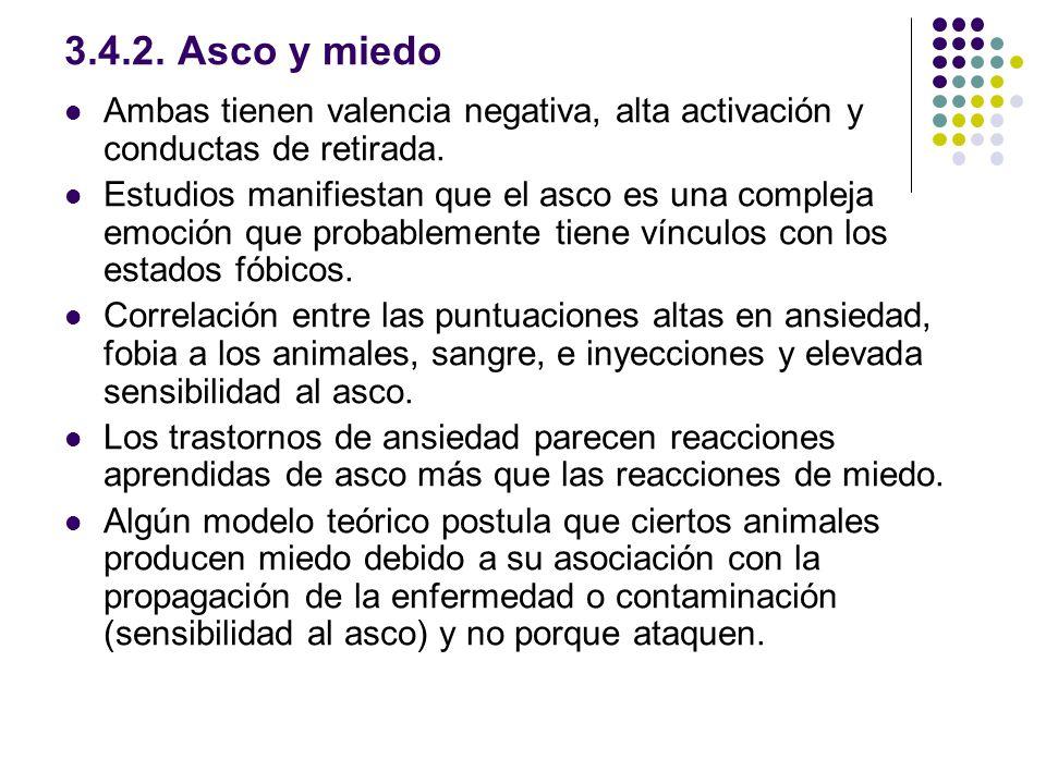 3.4.2. Asco y miedo Ambas tienen valencia negativa, alta activación y conductas de retirada.