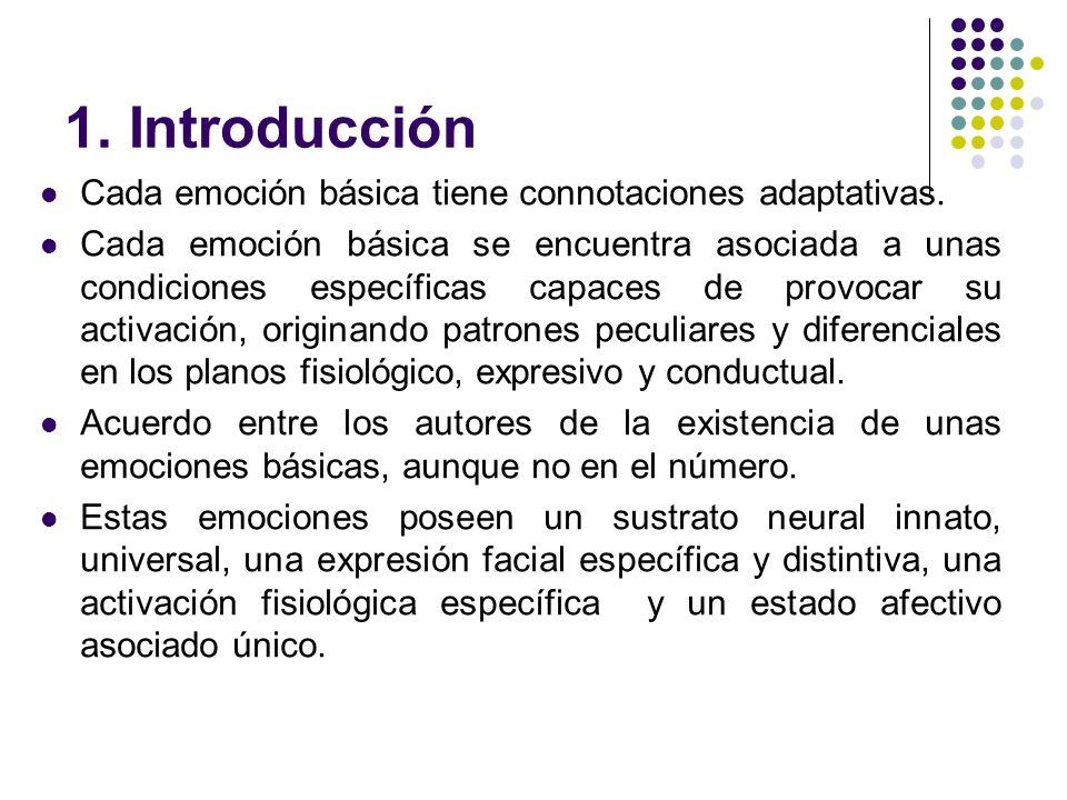 1. Introducción Cada emoción básica tiene connotaciones adaptativas.