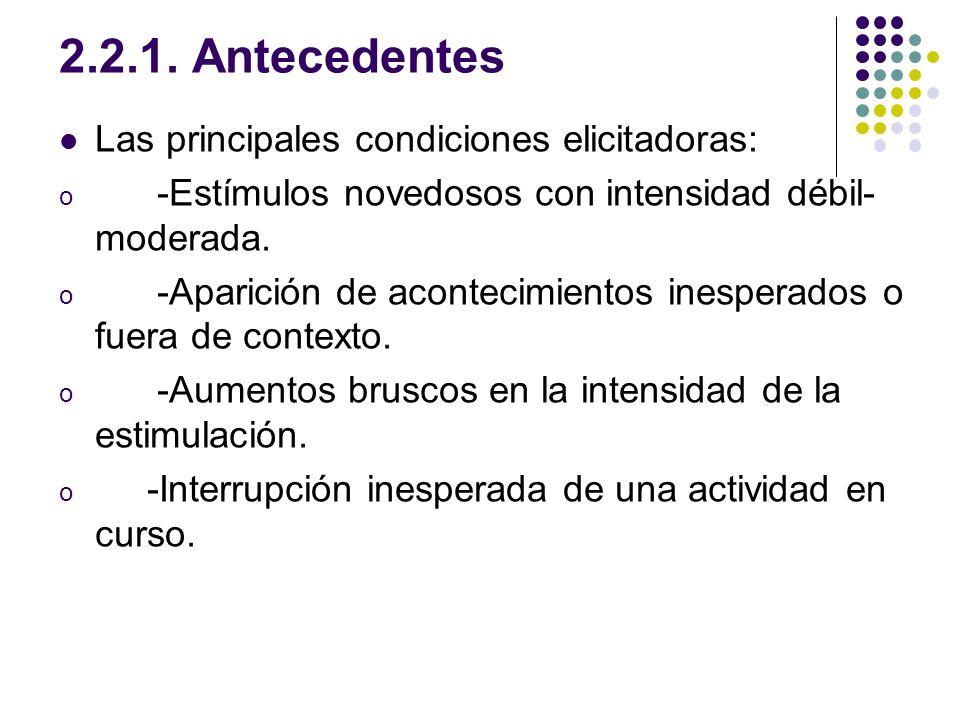 2.2.1. Antecedentes Las principales condiciones elicitadoras: