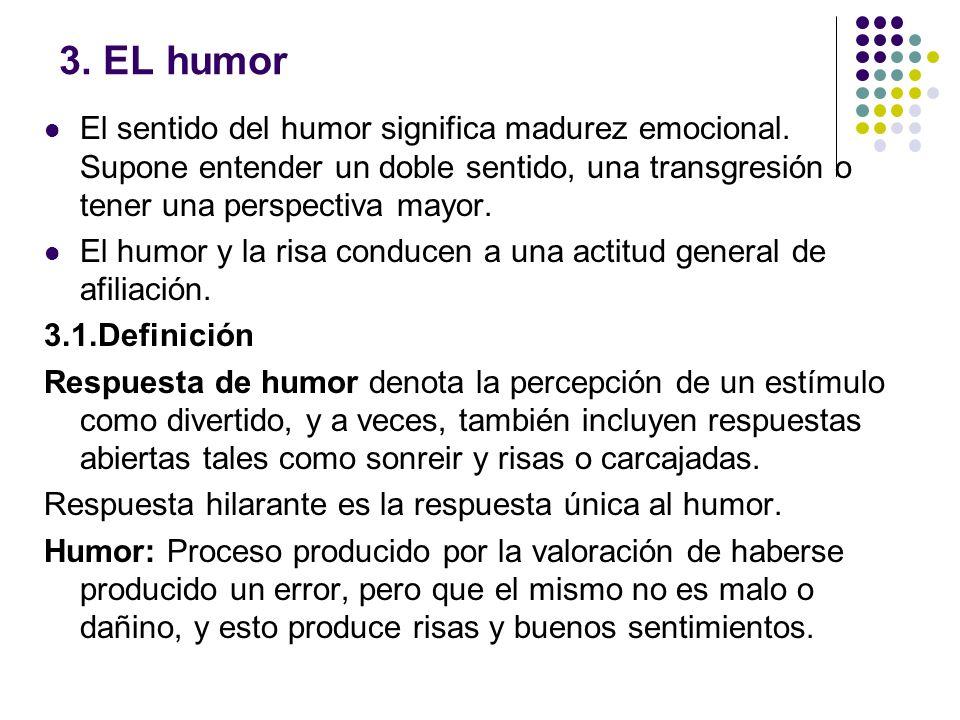 3. EL humor El sentido del humor significa madurez emocional. Supone entender un doble sentido, una transgresión o tener una perspectiva mayor.