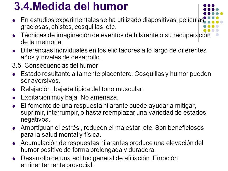 3.4.Medida del humor En estudios experimentales se ha utilizado diapositivas, películas graciosas, chistes, cosquillas, etc.