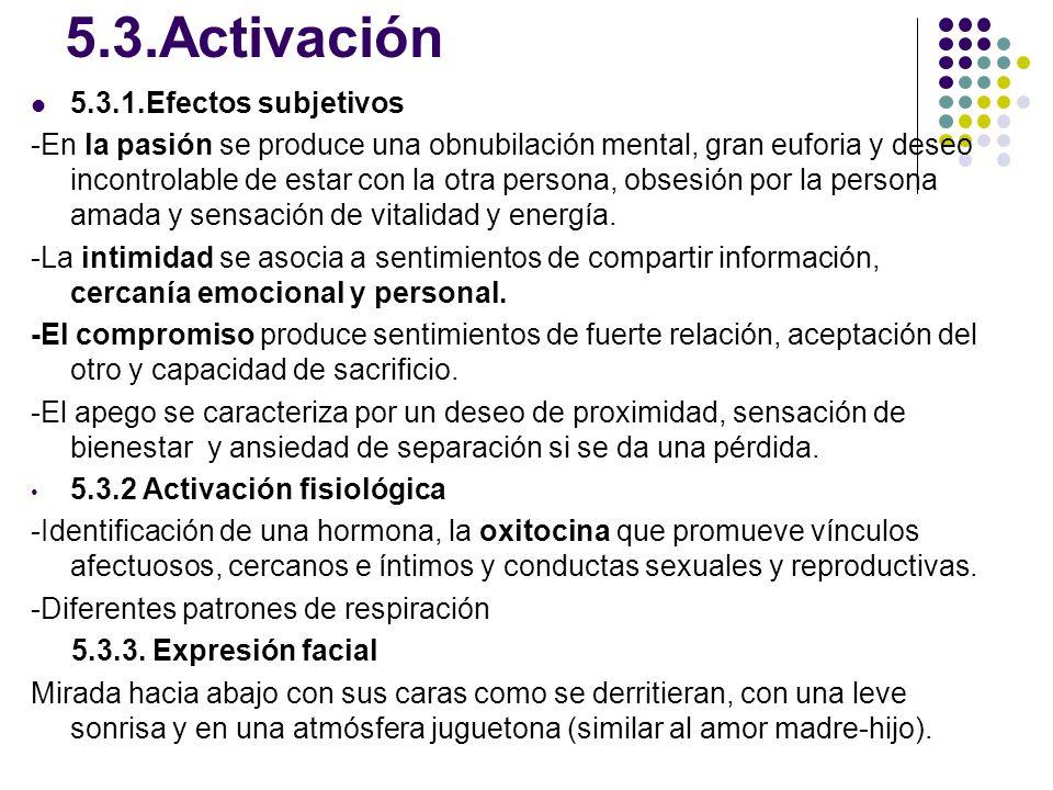5.3.Activación 5.3.1.Efectos subjetivos