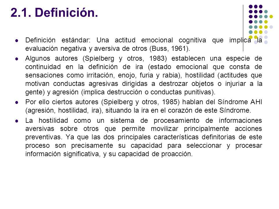 2.1. Definición. Definición estándar: Una actitud emocional cognitiva que implica la evaluación negativa y aversiva de otros (Buss, 1961).