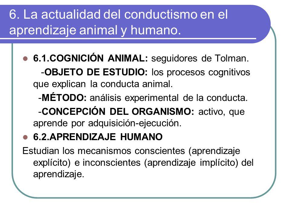 6. La actualidad del conductismo en el aprendizaje animal y humano.