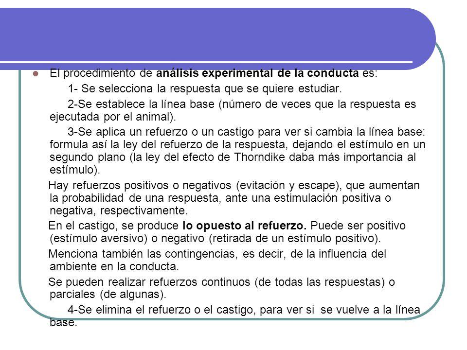El procedimiento de análisis experimental de la conducta es:
