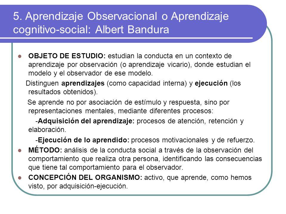 5. Aprendizaje Observacional o Aprendizaje cognitivo-social: Albert Bandura
