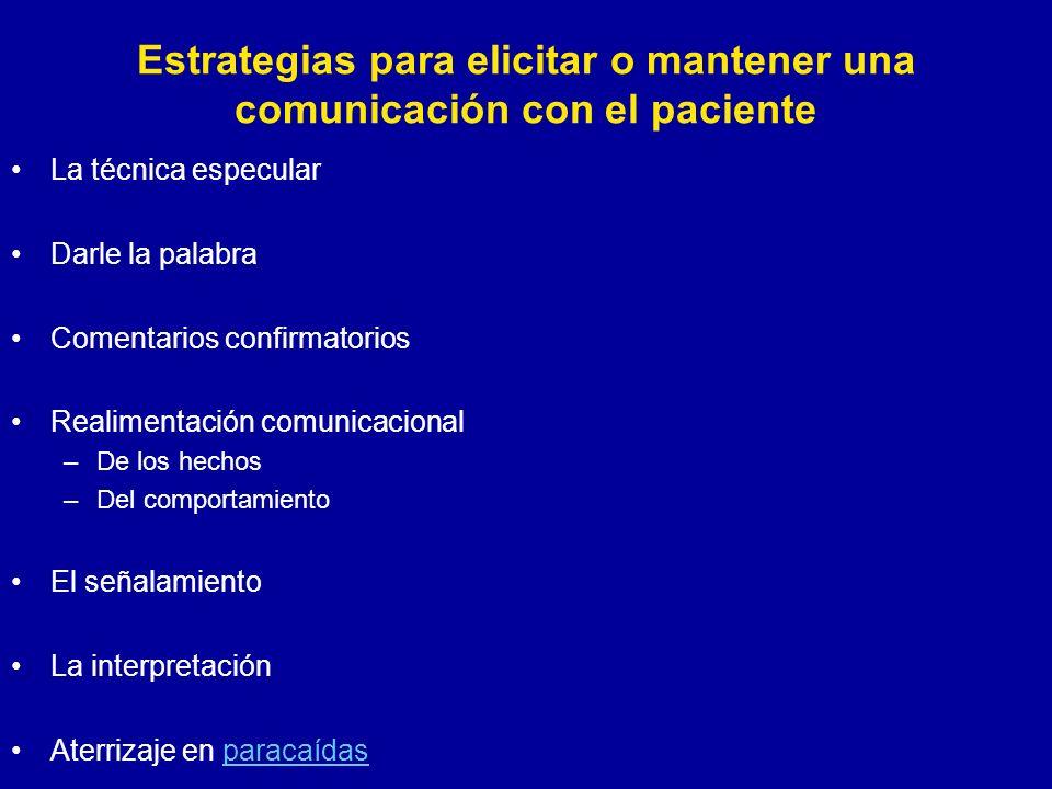 Estrategias para elicitar o mantener una comunicación con el paciente