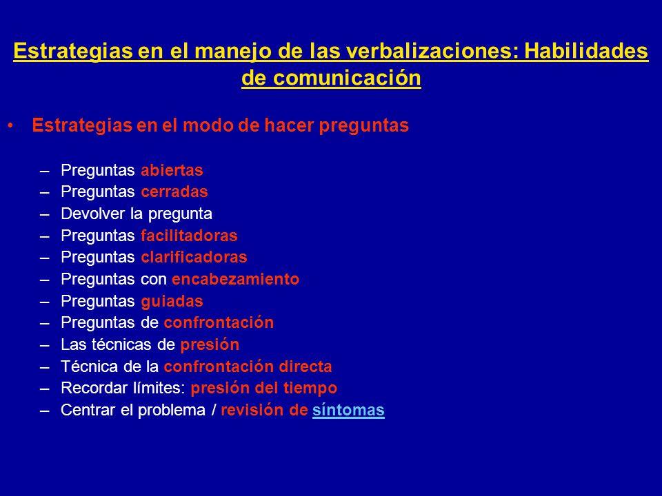 Estrategias en el manejo de las verbalizaciones: Habilidades de comunicación