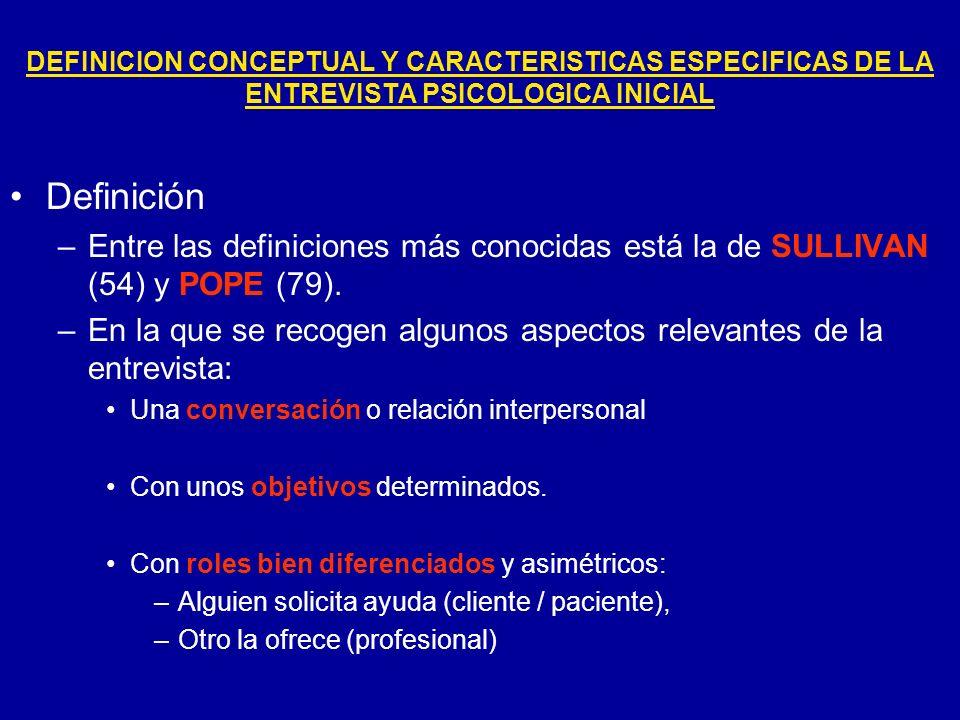 DEFINICION CONCEPTUAL Y CARACTERISTICAS ESPECIFICAS DE LA ENTREVISTA PSICOLOGICA INICIAL