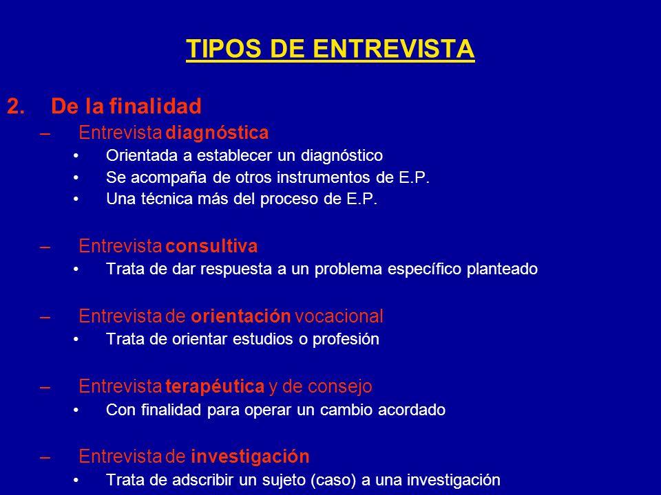 TIPOS DE ENTREVISTA De la finalidad Entrevista diagnóstica