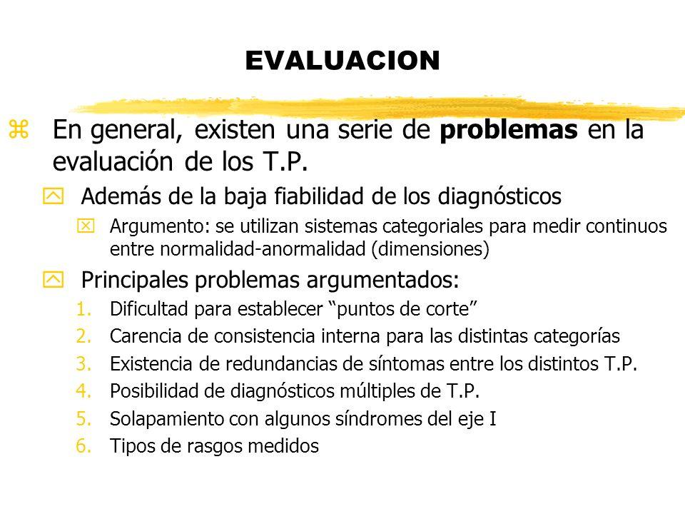 EVALUACION En general, existen una serie de problemas en la evaluación de los T.P. Además de la baja fiabilidad de los diagnósticos.