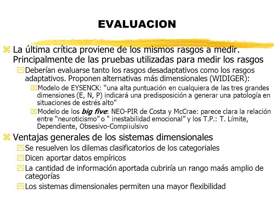 EVALUACION La última crítica proviene de los mismos rasgos a medir. Principalmente de las pruebas utilizadas para medir los rasgos.