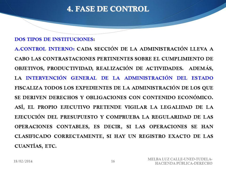 4. FASE DE CONTROL DOS TIPOS DE INSTITUCIONES: