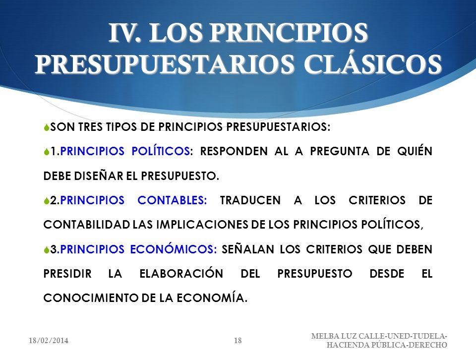 IV. LOS PRINCIPIOS PRESUPUESTARIOS CLÁSICOS