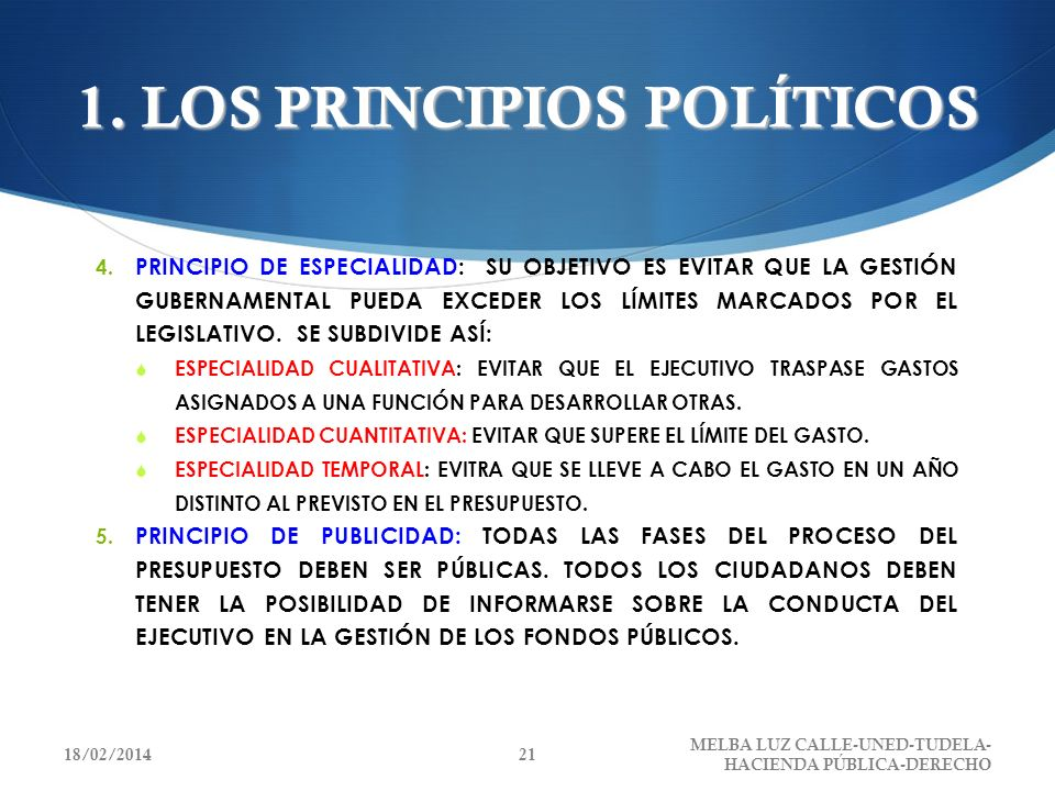 1. LOS PRINCIPIOS POLÍTICOS