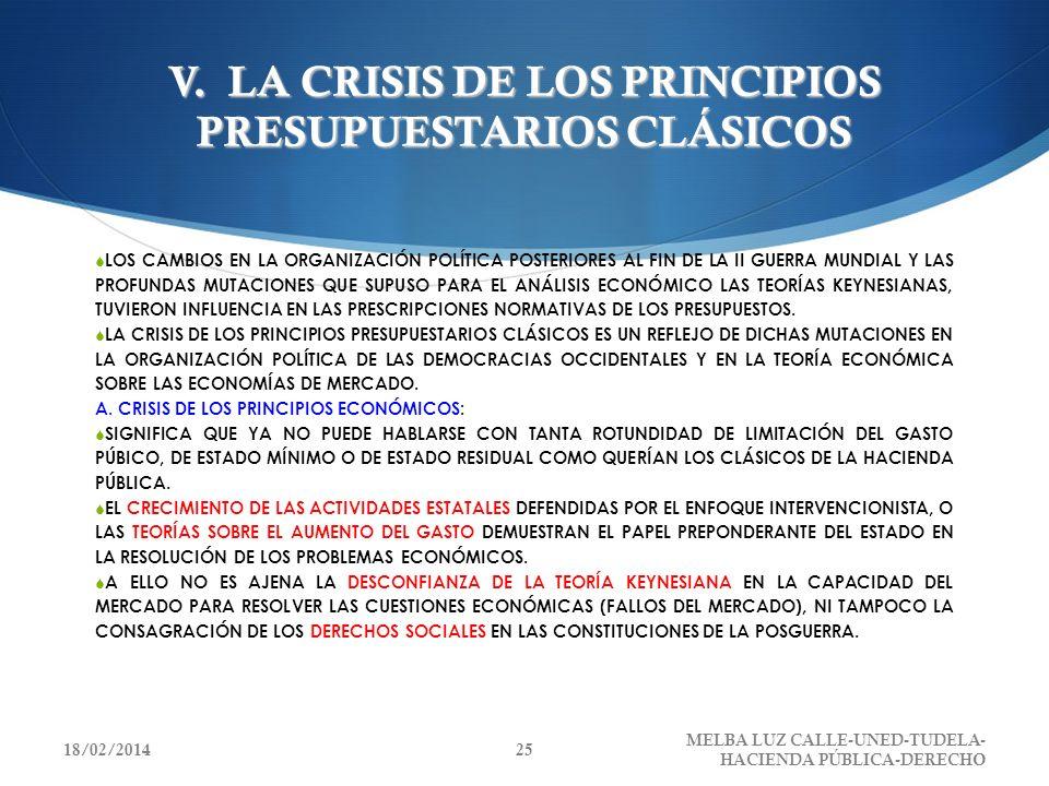 V. LA CRISIS DE LOS PRINCIPIOS PRESUPUESTARIOS CLÁSICOS