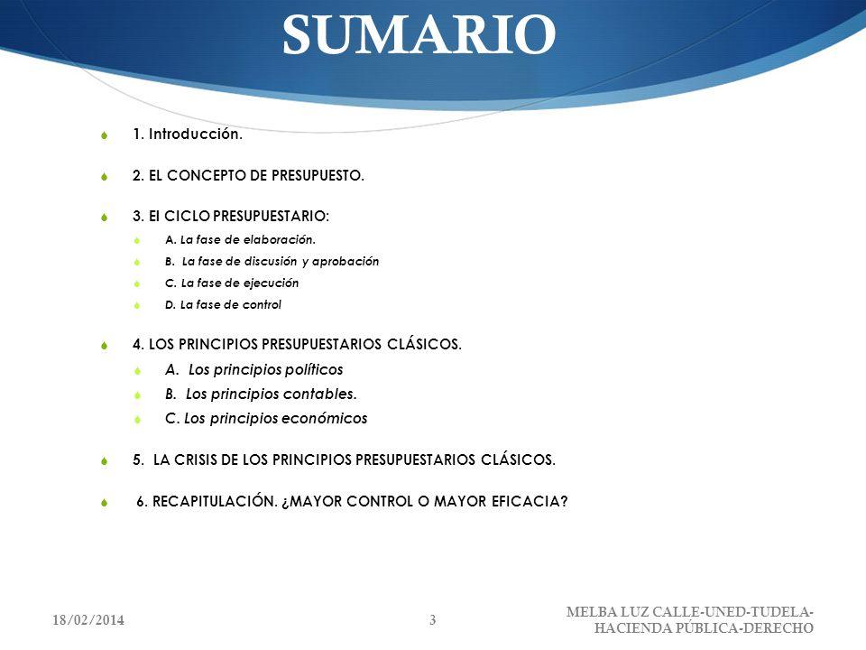SUMARIO 1. Introducción. 2. EL CONCEPTO DE PRESUPUESTO.
