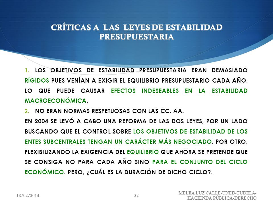 CRÍTICAS A LAS LEYES DE ESTABILIDAD PRESUPUESTARIA