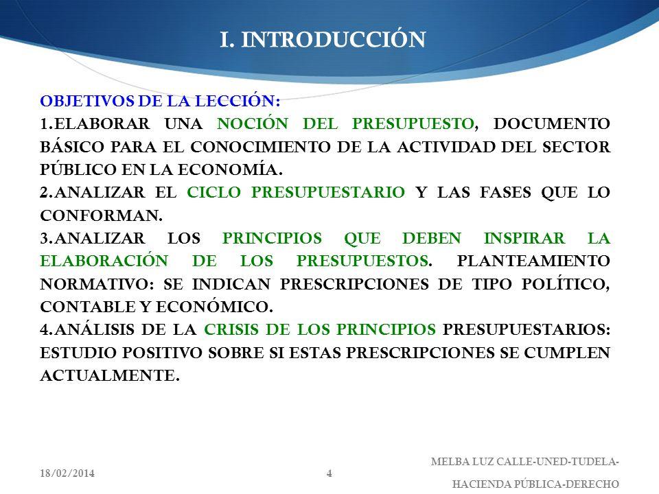 I. INTRODUCCIÓN OBJETIVOS DE LA LECCIÓN: