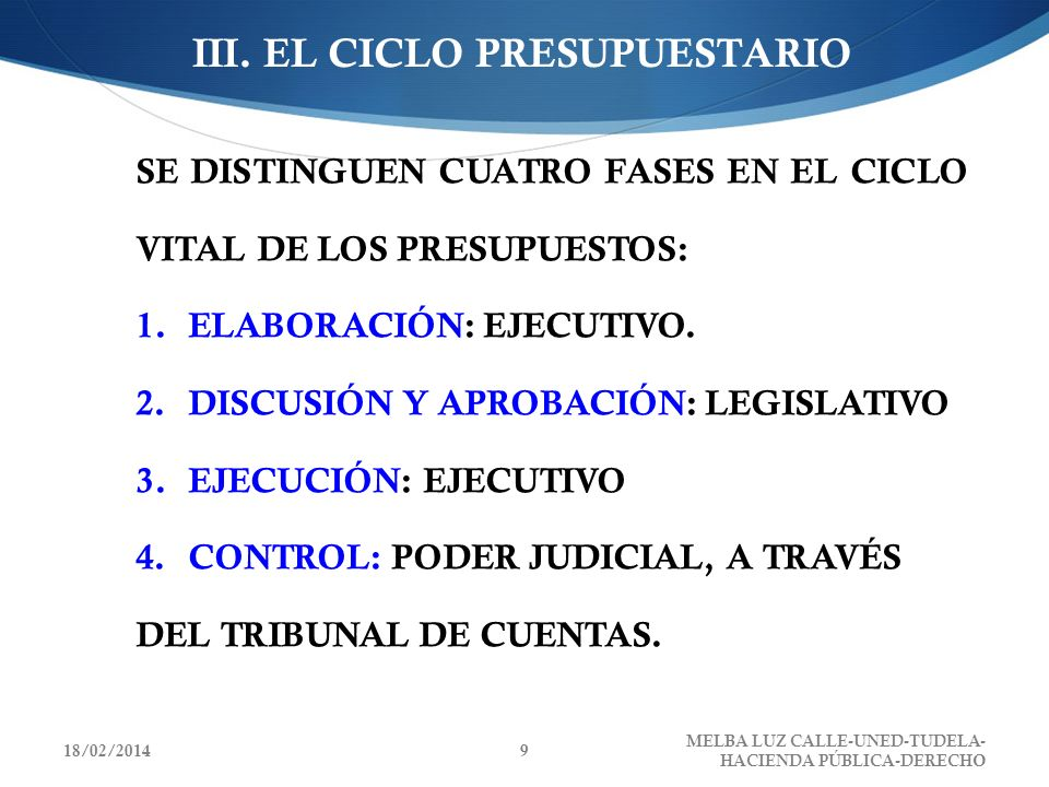 III. EL CICLO PRESUPUESTARIO
