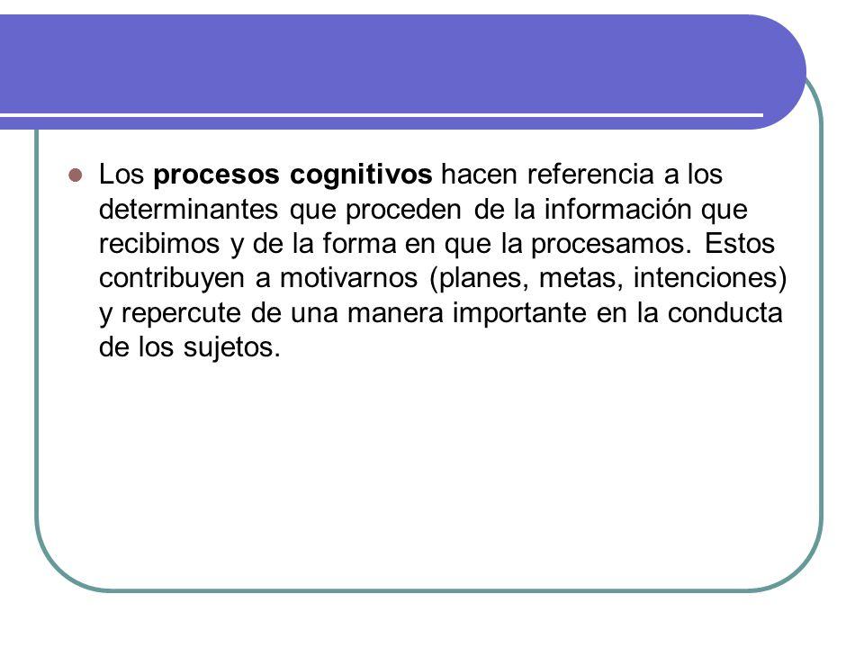 Los procesos cognitivos hacen referencia a los determinantes que proceden de la información que recibimos y de la forma en que la procesamos.