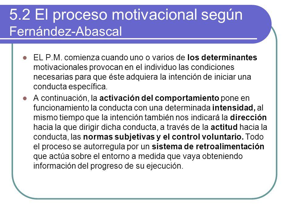 5.2 El proceso motivacional según Fernández-Abascal