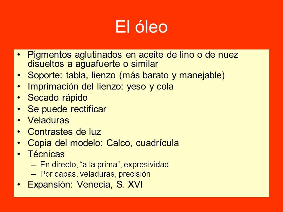 El óleoPigmentos aglutinados en aceite de lino o de nuez disueltos a aguafuerte o similar. Soporte: tabla, lienzo (más barato y manejable)