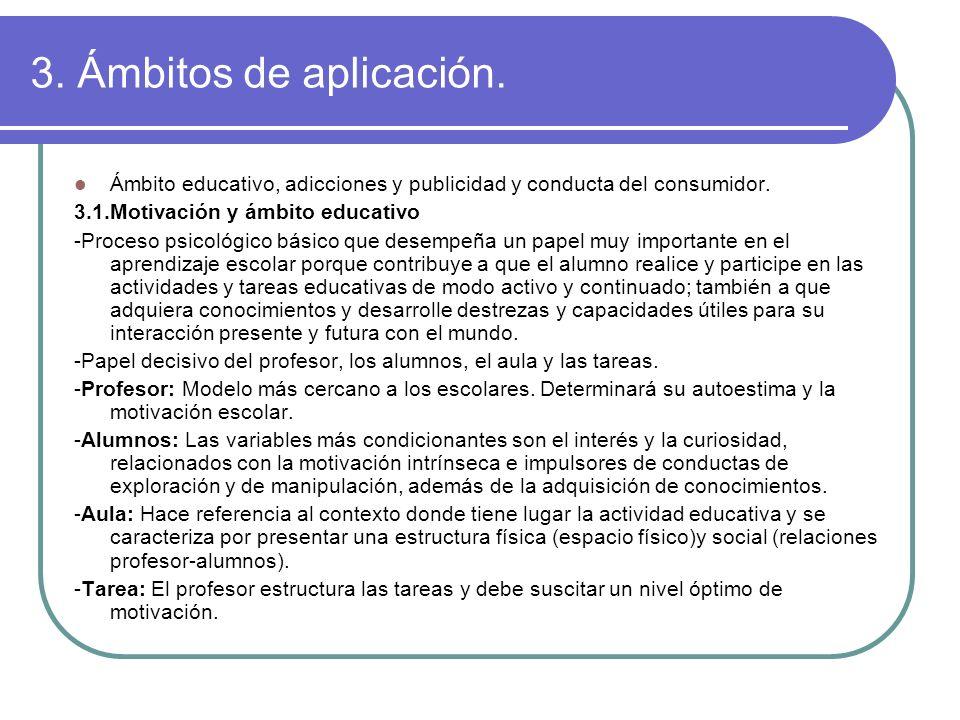 3. Ámbitos de aplicación. Ámbito educativo, adicciones y publicidad y conducta del consumidor. 3.1.Motivación y ámbito educativo.