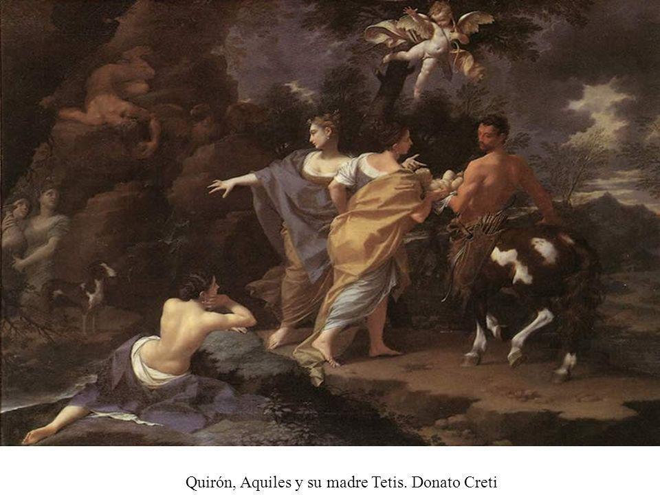 Quirón, Aquiles y su madre Tetis. Donato Creti