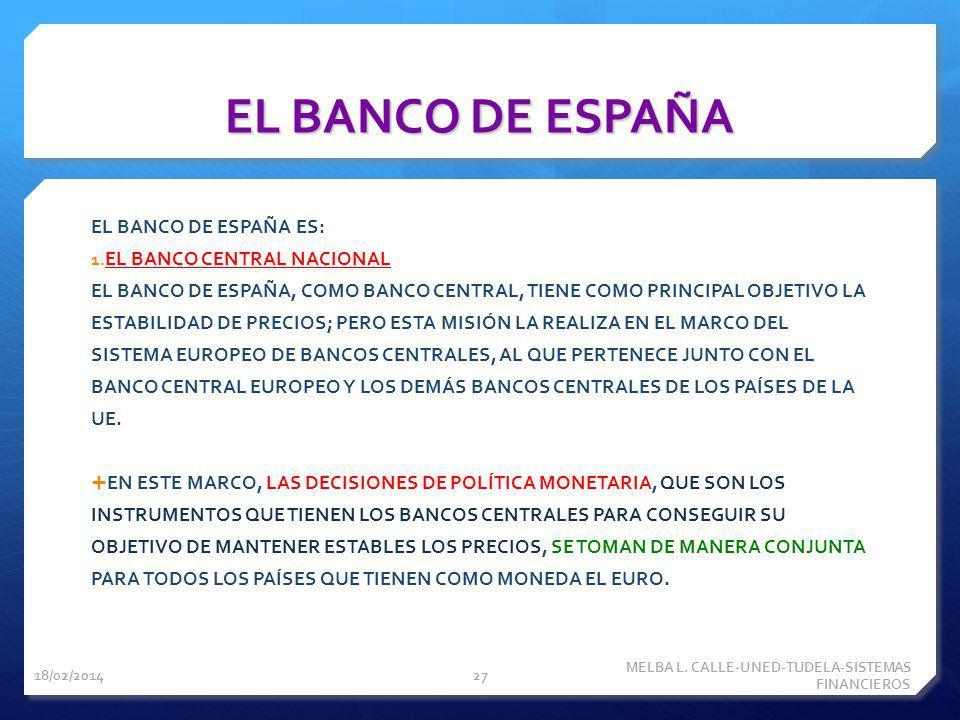 EL BANCO DE ESPAÑA EL BANCO DE ESPAÑA ES: EL BANCO CENTRAL NACIONAL