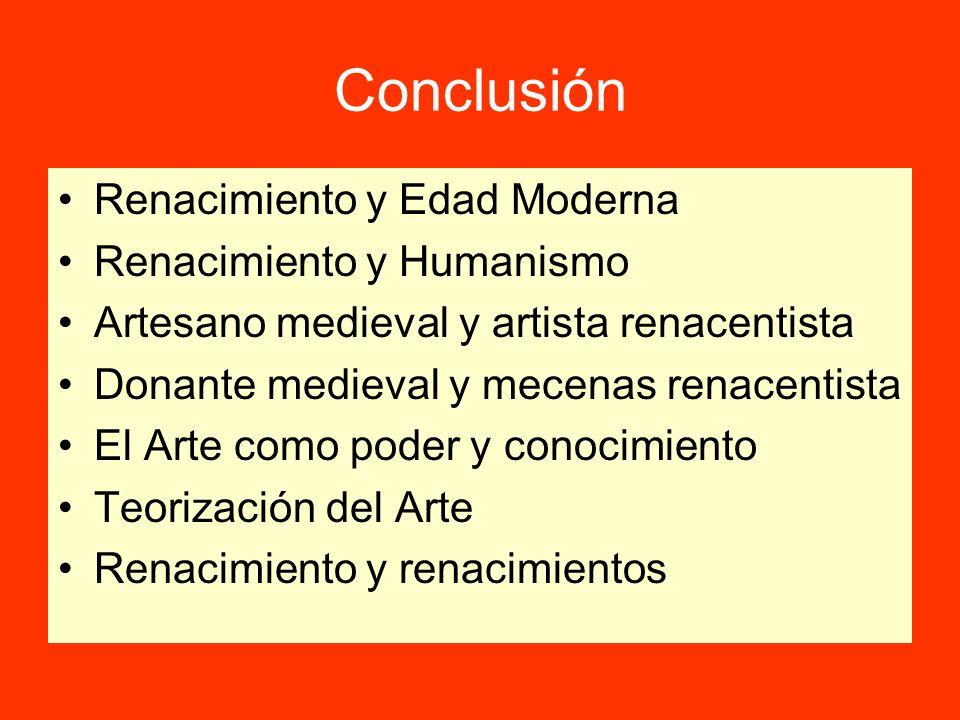 Conclusión Renacimiento y Edad Moderna Renacimiento y Humanismo