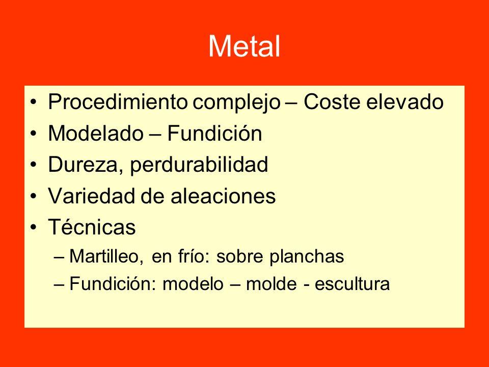 Metal Procedimiento complejo – Coste elevado Modelado – Fundición